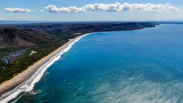 aerial view of white sand beach in Santa Rosa National Park