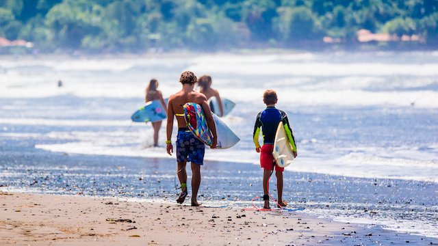 Costa Rica kids surfing on family vacation