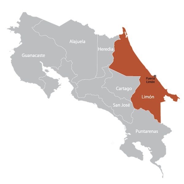Map of Limon, Costa Rica